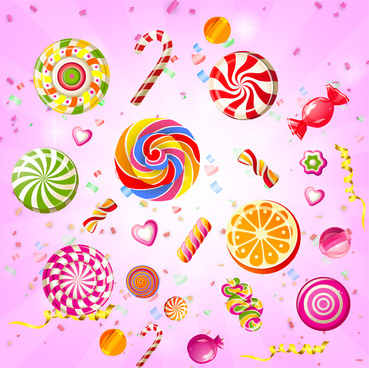 colorful candy and ribbon background
