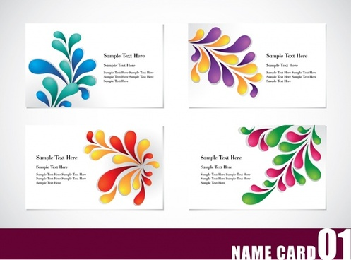 name card templates colorful leaf decor