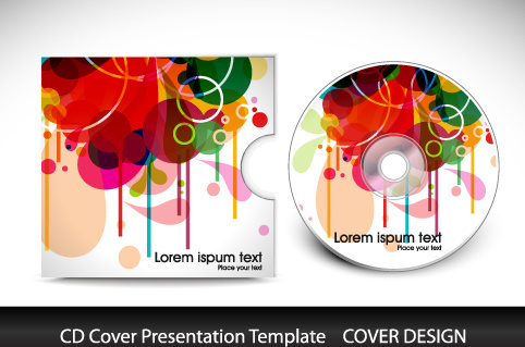 colorful cd cover presentation elements vector set