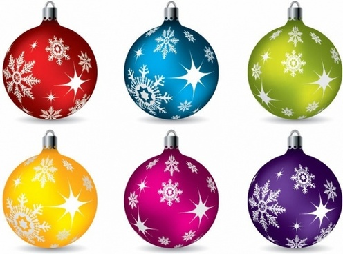 Colorful Christmas Ball Ornaments Vector