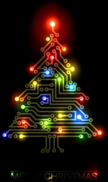 colorful christmas tree 02 vector