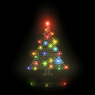 colorful christmas tree popular trend vector