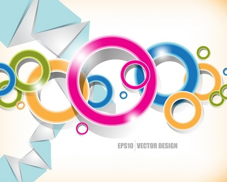 decorative geometric background shiny modern colorful circles triangles
