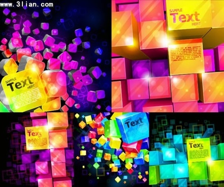 decorative background templates dark colorful sparkling 3d cubes