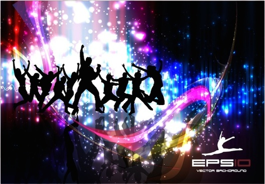 colorful dancing lights background vector