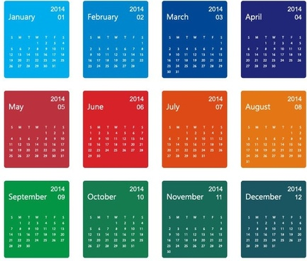 colorful design14 calendar vector