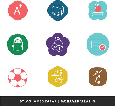 colorful different shaped education icons for mobile applications