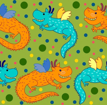 colorful dragons background stylized cartoon style repeating decoration
