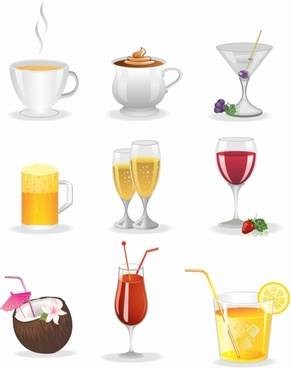 Colorful drinks icon set