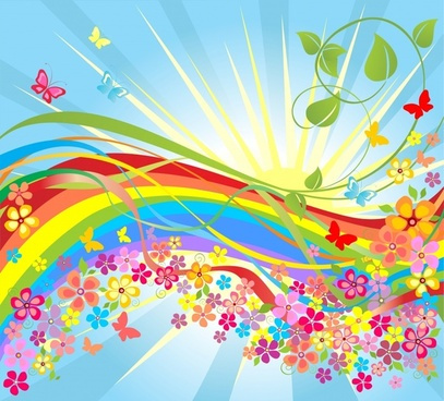 spring background colorful dynamic design flowers rays ornament