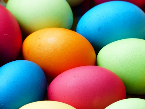 colorful easter eggs background with easter eggs