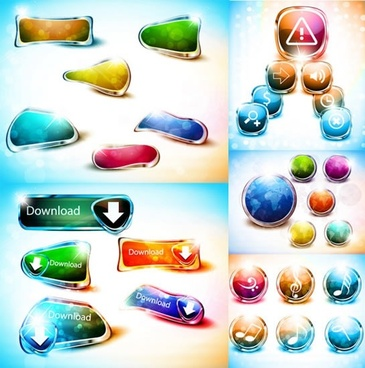 web buttons templates shiny modern colorful shapes
