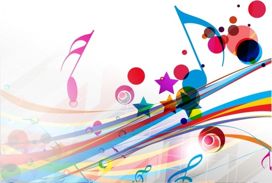 music background colorful dynamic notes shapes decor