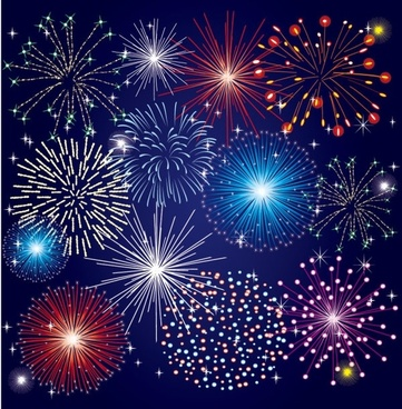 colorful fireworks 03 vector