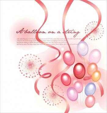 festive background template modern dynamic balloon ribbons decor