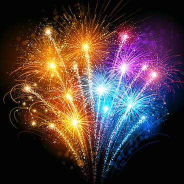 colorful fireworks holiday celebratory vector