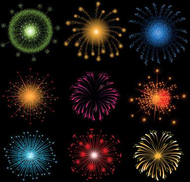 colorful fireworks holiday illustration vector set