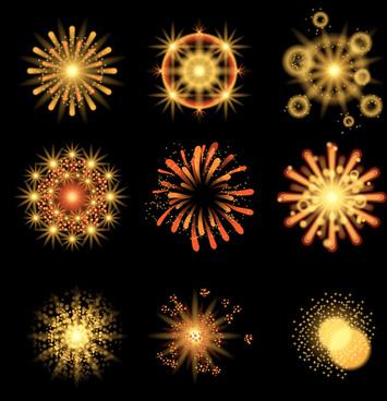 colorful fireworks holiday illustration vector set
