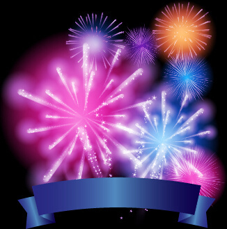 colorful fireworks with ribbon vector background