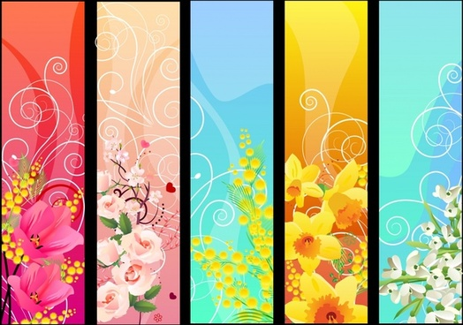 flora background templates bright colorful blooming sketch