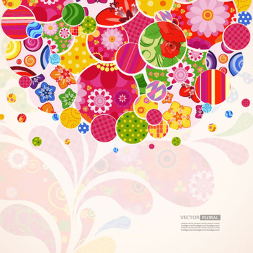 colorful floral elements background art vector