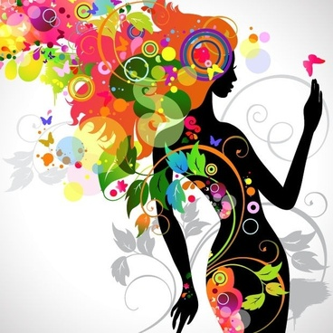 Colorful Floral Girl Silhouette