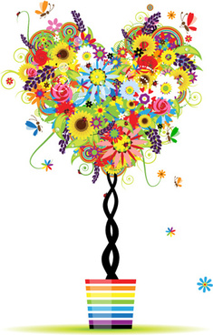 colorful floral tree design vector