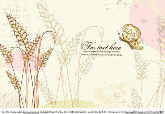 colorful floral vector illustration with butterfly