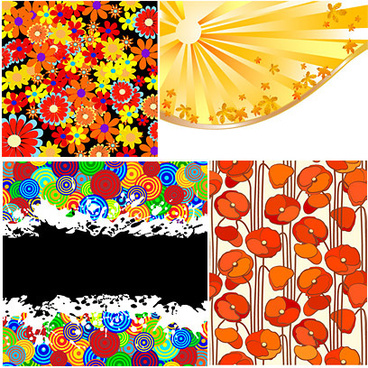 colorful florals backgrounds vector