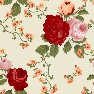roses painting colorful retro handdrawn decor
