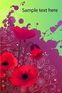 nature background red flowers violet grunge ink decor