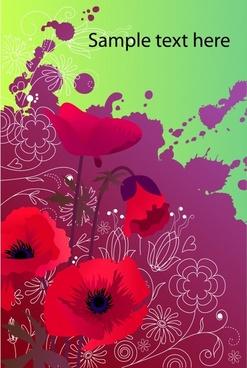nature background red flowers violet grunge ink decor
