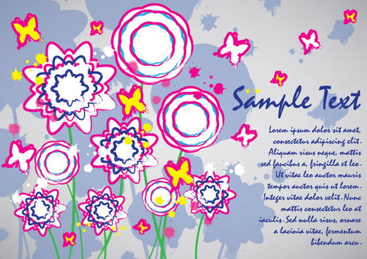 colorful flowers card design