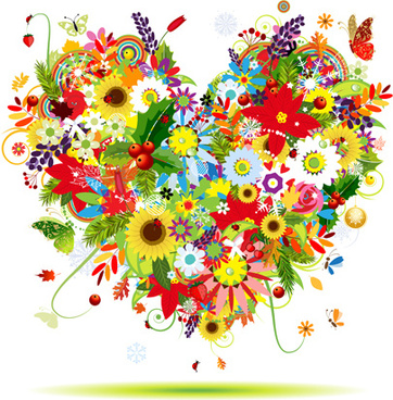 colorful flowers design elements vector
