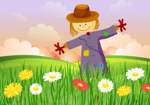 colorful flowers field scenery background dummy icon decoration