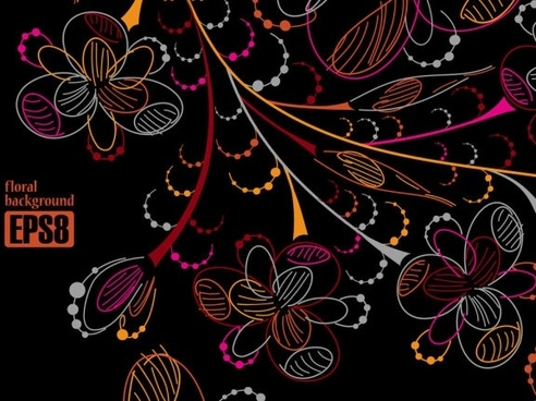 colorful flowers line draft 05 vector