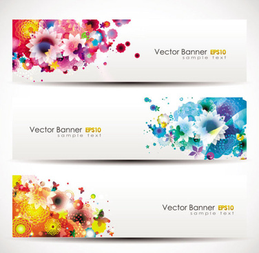 colorful flowers vector banner