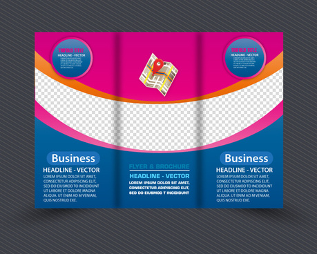 colorful flyer template design with curved line style