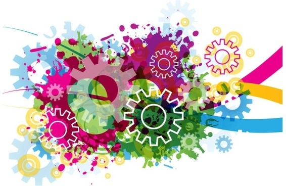 colorful gears background 03 vector