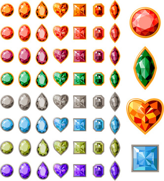 colorful gems design vector