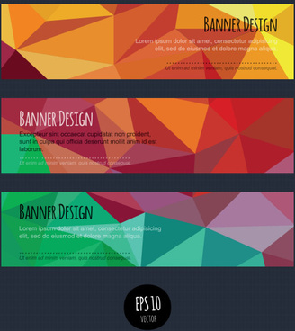 colorful geometric shapes vector banners
