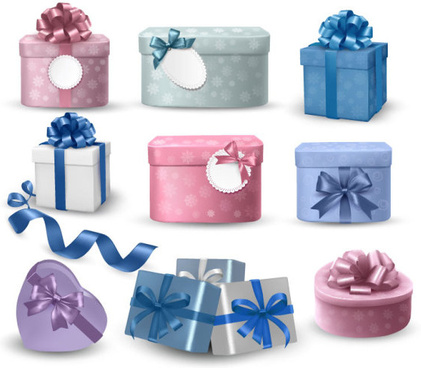 colorful gift box and banner design vector