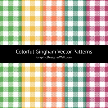 colorful gingham vector patterns