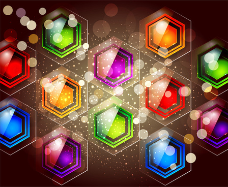 colorful glossy hexagon abstract background
