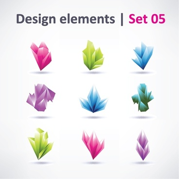 logo design elements collection modern colored 3d design