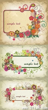 floral frames templates colorful classical retro decor