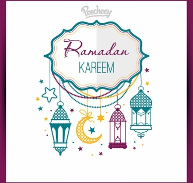 colorful greeting card for ramadan holiday