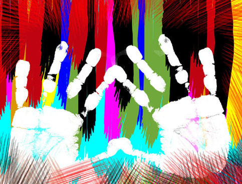 colorful hand prints design vector set
