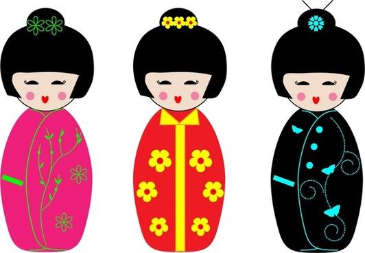 colorful kokeshi dolls set vector illustration