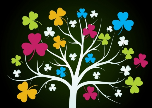 colorful leaves tree background flat outline